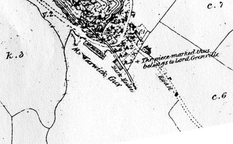 Part of Earl Fortescue's Manor of Treore Estate Map c1800, prior to the building of the Pilchard Palaces