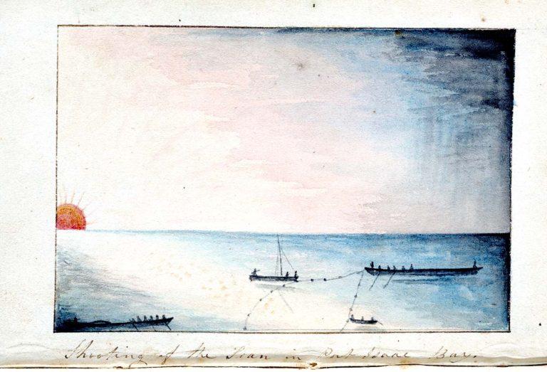 Seine Fishing in Port Isaac Bay by John Watts Trevan 1835.