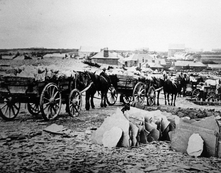 A wagon train of slate at Delabole Quarry c1870